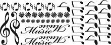 Auto Aufkleber Autoaufkleber Tuning Sticker Set Music Noten Blumen Musik (070 schwarz)