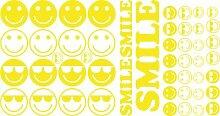 Auto Aufkleber Autoaufkleber Tuning Sticker Set Smile Cool Sonnenbrille (022 shellgelb)