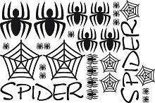 Auto Aufkleber Autoaufkleber Tuning Sticker Set Spider Spinne Spinnennetz (070 schwarz)