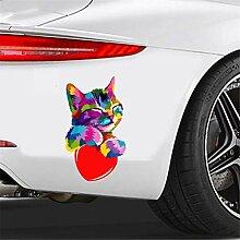 Auto-Aufkleber Buntes Katzenhalterherzzubehör