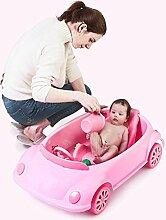 Auto Baby Badewanne Neugeborenes Kind Kann Hinlegen und sitzen Multifunktionale Falten Großes Bad (Farbe : Pink)