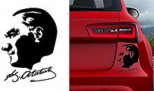 Auto Car Sticker Wandtattoo Wandaufkleber Macbook pro Air Aufkleber Mustafa Kemal Atatürk Kopf mit Unterschrift (ca. 11x10cm, Silber)