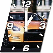 Auto, Design Wanduhr aus Alu Dibond zum Aufhängen, 30 cm Durchmesser, breite Zeiger, schöne und moderne Wand Dekoration, mit qualitativem Quartz Uhrwerk