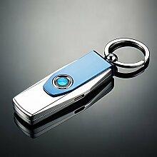 Auto Schlüsselkette Männer Taille hängenden High-End-Multifunktions-Feuerzeug Schlüssel Anhänger kreatives Geschenk U-Scheibe Design Mode feine Qualitätssicherung neu ( Farbe : Blau )