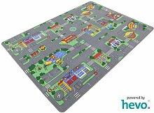 Auto Teppich HEVO® Kinder Strassen Spielteppich | Kinderteppich 200x200 cm