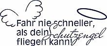 Autoaufkleber Aufkleber für die Heckscheibe Spruch Fahr nie schneller Flügel (70x30cm // 049G königsblau)