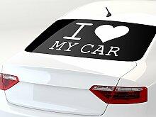 Autoaufkleber Auto Heck Aufkleber für Heckscheibe Spruch I Love My Car Herz (68x45cm // 048G bordeaux)