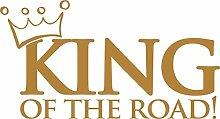 Autoaufkleber Auto Heck Aufkleber für Heckscheibe Spruch King of the road Krone (70x38cm // 930G gold)