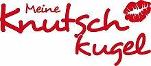 Autoaufkleber Auto Heck Aufkleber für Heckscheibe Spruch Meine Knutschkugel Kus (70x31cm // 032G hellrot)