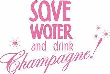 Autoaufkleber Auto Heck Aufkleber für Heckscheibe Spruch Save Water Champagne (045 hellrosa)