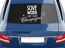 Autoaufkleber Auto Heck Aufkleber für Heckscheibe Spruch Save Water Champagne (67x45cm // 048G bordeaux)
