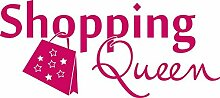 Autoaufkleber Auto Heck Aufkleber für Heckscheibe Spruch Shopping Queen Sterne (70x31cm // 041G pink)