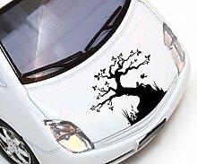 Autoaufkleber Baum Vogel Bäume Pflanze Äste Blätter Blüten Blumen Ranke Herbst Deko Wald Auto Aufkleber 1E084, Farbe:Lavendel glanz;Breite vom Motiv:40cm