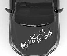 Autoaufkleber Blumenranke Ranke Blume Blüte Pflanze Auto Sticker Aufkleber 5E128, Farbe:Dunkelgrün Matt;Breite vom Motiv:85cm