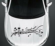 Autoaufkleber Blumenranke Ranke Blume Herz Pflanze Auto Sticker Aufkleber 5E138, Farbe:Dunkelgrün Matt;Breite vom Motiv:160cm