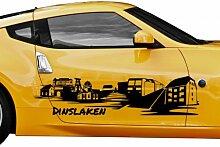 Autoaufkleber Dinslaken Tattoo Skyline Car Sticker Auto Aufkleber Stadt 1M290, Farbe:Gelbgrün glanz;Skyline Länge:180cm