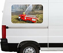 Autoaufkleber Feuerwehr Feuerwehrmann Auto Helm Wasser Feuer Car Wohnmobil Auto tuning Digital Druck Fenster Sticker LKW Bild Aufkleber 21B260, Größe 3D sticker:ca. 120cmx73cm