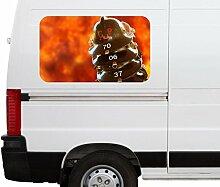 Autoaufkleber Feuerwehr Feuerwehrmann Helm Helme Feuer Flamme Car Wohnmobil Auto tuning Digital Druck Fenster Sticker LKW Bild Aufkleber 21B261, Größe 3D sticker:ca. 161cmx 96cm