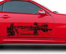 Autoaufkleber Gelsenkirchen XXL Skyline Car Sticker Auto Aufkleber Stadt 1M507, Farbe:Azurblau glanz;Skyline Länge:80cm