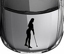 Autoaufkleber Golf Spielerin Sport Sticker Auto Tattoo Design Aufkleber 5G024, Farbe:Silbergrau glanz;Hohe:130cm