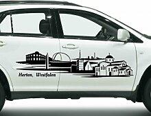Autoaufkleber Herten, Westfalen Skyline Car Sticker Auto Aufkleber Stadt 1M281, Farbe:Dunkelgrau glanz;Skyline Länge:120cm