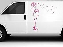Autoaufkleber Pusteblume Set Flugsamen Blume Schmetterling Löwenzahn LKW 5E091, Farbe:Braun Matt;Hohe:180cm
