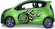 Autoaufkleber Rallye Wheel - Reifen Fahne Flag