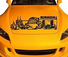 Autoaufkleber Remagen Deutschland Skyline Car Sticker Auto Aufkleber Stadt 1M506, Farbe:Weiß glanz;Skyline Länge:120cm