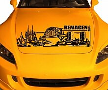 Autoaufkleber Remagen Deutschland Skyline Car Sticker Auto Aufkleber Stadt 1M506, Farbe:Weiß Matt;Skyline Länge:160cm