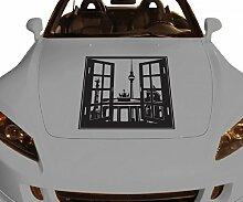 Autoaufkleber Skyline Berlin Fenster Briefmarke Auto Sticker Aufkleber 5M169, Farbe:DunkelRot glanz;Breite vom Motiv:40cm