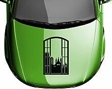 Autoaufkleber Skyline Bonn Fenster Briefmarke Auto Sticker Aufkleber 5M173, Farbe:Beige glanz;Hohe:55cm