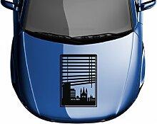 Autoaufkleber Skyline Bonn Fenster Briefmarke Auto Sticker Aufkleber 5M174, Farbe:DunkelRot glanz;Hohe:45cm