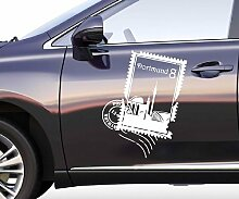 Autoaufkleber Skyline Dortmund Stamps Briefmarke Auto Sticker Aufkleber 5M180, Farbe:Dunkelgrau glanz;Hohe:70cm