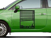 Autoaufkleber Skyline Garbsen Fenster Briefmarke Auto Sticker Aufkleber 5M194, Farbe:Flieder glanz;Hohe:55cm