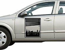 Autoaufkleber Skyline Koblenz Fenster Briefmarke Auto Sticker Aufkleber 5M205, Farbe:Königsblau Matt;Hohe:45cm