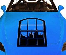 Autoaufkleber Skyline Köln Fenster Briefmarke Auto Sticker Aufkleber 5M211, Farbe:Gelb glanz;Hohe:55cm