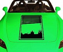 Autoaufkleber Skyline Köln Fenster Briefmarke Auto Sticker Aufkleber 5M210, Farbe:Dunkelgrau Matt;Hohe:65cm