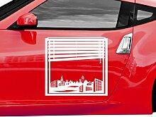 Autoaufkleber Skyline Neu-Ulm Fenster Briefmarke Auto Sticker Aufkleber 5M223, Farbe:Rot Matt;Breite vom Motiv:45cm