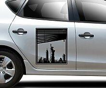 Autoaufkleber Skyline New York Fenster Briefmarke Auto Sticker Aufkleber 5M228, Farbe:Beige glanz;Hohe:45cm