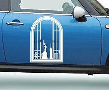 Autoaufkleber Skyline New York Fenster Briefmarke Auto Sticker Aufkleber 5M227, Farbe:Weiß glanz;Hohe:80cm