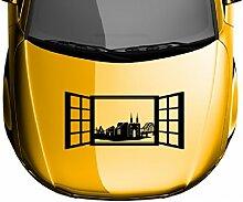 Autoaufkleber Skyline Remagen Fenster Briefmarke Auto Sticker Aufkleber 5M234, Farbe:Gelbgrün glanz;Breite vom Motiv:85cm