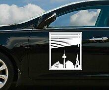 Autoaufkleber Skyline Schwerte Fenster Briefmarke Auto Sticker Aufkleber 5M241, Farbe:DunkelRot glanz;Hohe:55cm