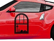 Autoaufkleber Skyline Schwerte Fenster Briefmarke Auto Sticker Aufkleber 5M242, Farbe:Flieder glanz;Hohe:40cm