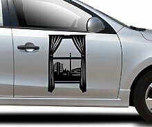 Autoaufkleber Skyline Stuttgart Fenster Briefmarke Auto Sticker Aufkleber 5M247, Farbe:Lavendel glanz;Hohe:65cm