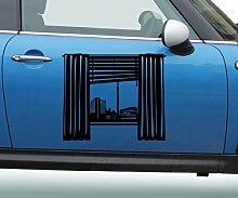 Autoaufkleber Skyline Stuttgart Fenster Briefmarke Auto Sticker Aufkleber 5M246, Farbe:Weiß glanz;Breite vom Motiv:45cm