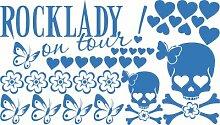 Autoaufkleber Tuning Aufkleber Set für Auto Schriftzug Rocklady on tour Herzen (053 hellblau)