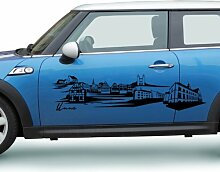 Autoaufkleber Unna Deutschland Skyline Car Sticker Auto Aufkleber Stadt 1M287, Farbe:Silbergrau glanz;Skyline Länge:200cm
