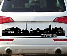 Autoaufkleber Zagreb Skyline Car Sticker Auto Tuning Aufkleber Stadt 1M735, Farbe:Dunkelgrau Matt;Motiv Länge:140cm