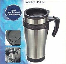 AUTOBECHER 450 ml Edelstahl Thermobecher Isolierbecher Kaffeebecher Becher H