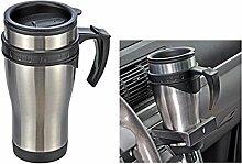 Autobecher aus Edelstahl, Deckel mit Trinköffnung, 450 ml || Becher Kaffee Tasse Thermobecher Trinkbecher Camping